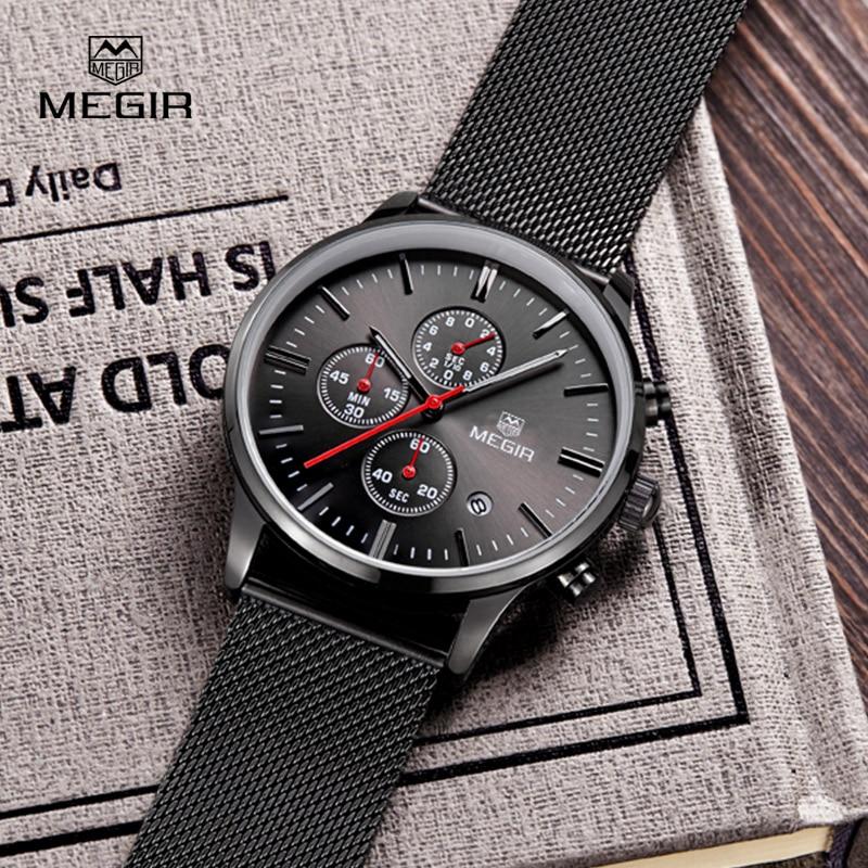 Prix pour MEGIR Chronographe Hommes de Quartz-montre En Acier Inoxydable Maille Bande Or Montres Mince Hommes Montres Multi-fonction Sport montres