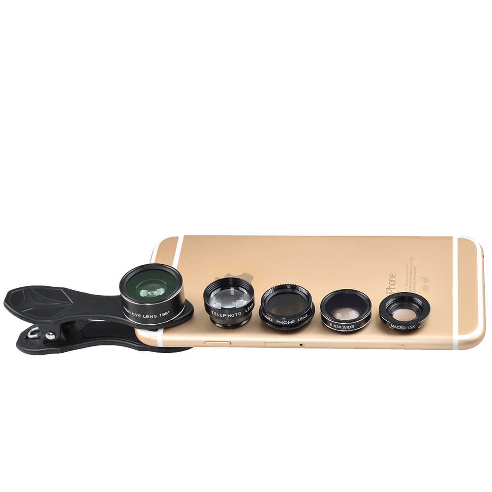 APEXEL Universal Clip 5 in 1 Fish Eye Wide Angle Macro 2X Telephoto CPL Mobile Phone Lens For iPhone Samsung Xiaomi Phones DG5