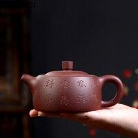 High quality 270cc ore purple sand handmade teapot Kung Fu tea set hurdle pot gift teapot raw ore mud kungfu tea set