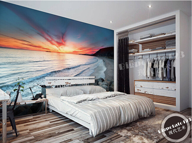 Custom 3D photo wallpaper, sunset beach scenery mural for the living room bedroom TV background wall waterproof papel de parede купить