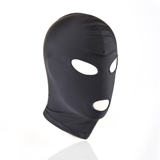 Sexy high elastic Latex Hood Black Mask 4 tyles Breathable Headpiece Fetish BDSM Adult for party 3