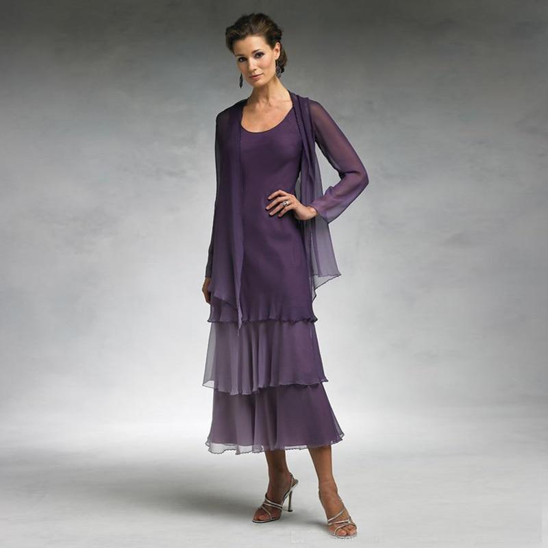Elegant Tea Length Mother Of The Bride Dresses With Jacket