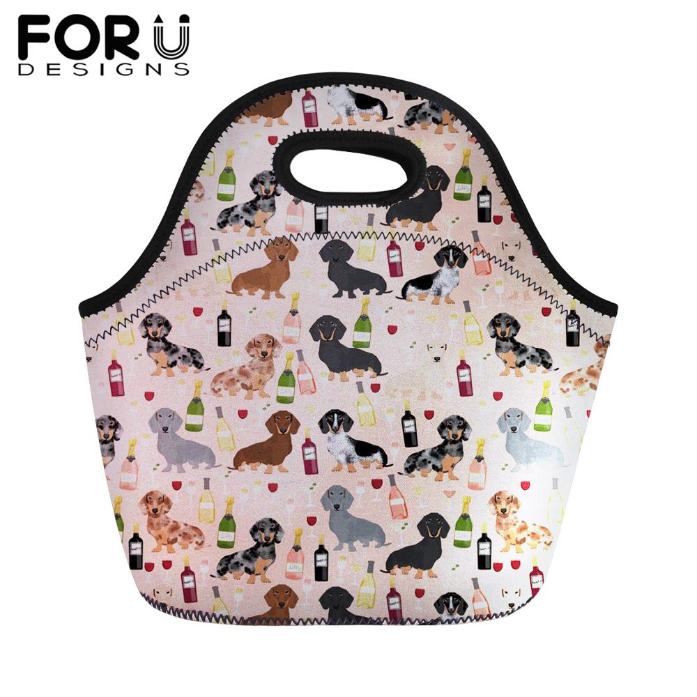 FORUDESIGNS Cute Dachshund Print Lunch Bag for Kids Portable Food Bag Women Girl Boy Thermal Insullate Tote Lunchbag Dropship in Lunch Bags from Luggage Bags