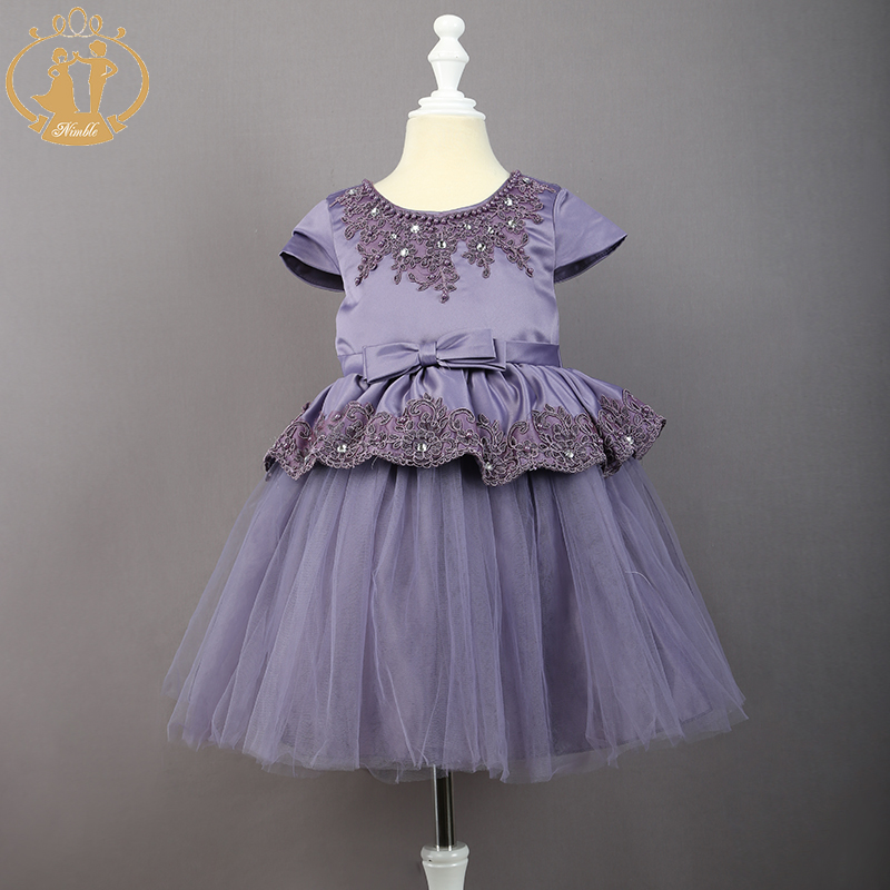 Nimble baby girls dress ivory champagne purple embroidery for Wedding dress with purple embroidery