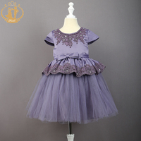 Nimble Baby Girls Dress Ivory Champanhe Purple Embroidery Bow Pearls Ball Gown O Neck Wedding Birthday