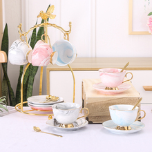 Top-grade simplicity Ceramic coffee cups set Marble print cup and saucer tea English afternoon porcelain