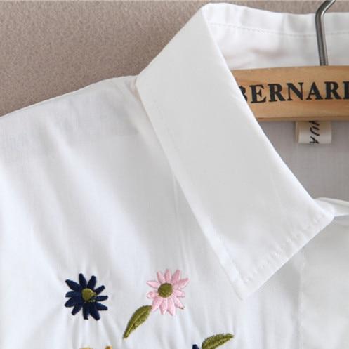2017 neue Herbst weiße Stickerei Blume Bluse mit Brosche - Damenbekleidung - Foto 5