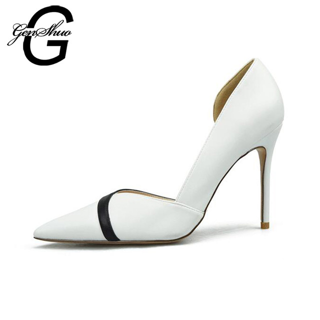 GENSHUO Women Shoes Pumps High Heels Stilettos Females Shoes For Women Black Nude PU Leather Party Working Shoes Size 4-9.5