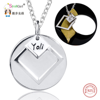 925 Sterling Customized Round Square Necklaces Pendants For Women Silver Personalized Name Chain Necklace Girl Fashion