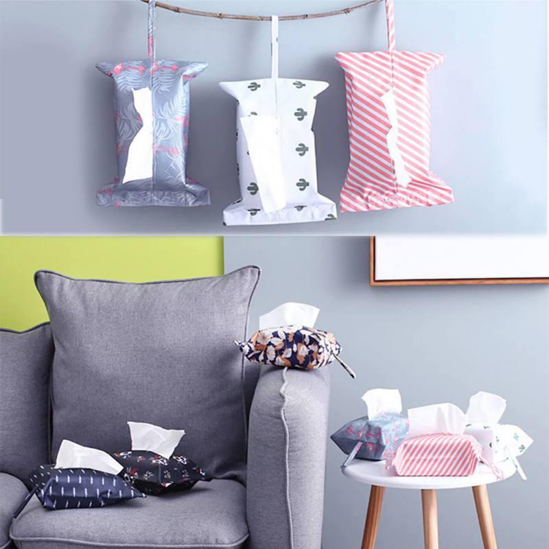 Nieuwste Klassieke Streep Flamingo Opknoping Tissue Box Cover Auto Huis Papieren Servet Papieren Handdoek Container Case Bag Voor Home Decor Wees Vriendelijk In Gebruik
