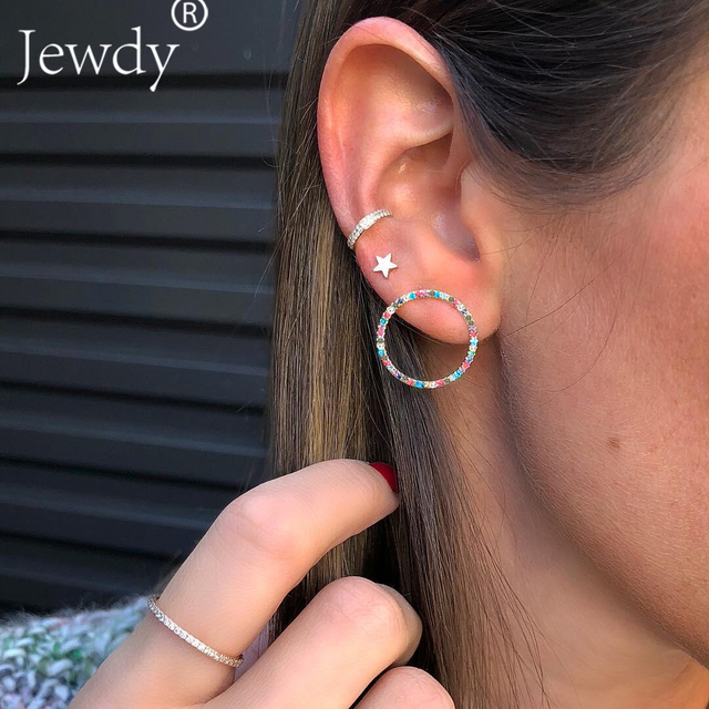 3PCS New Fashion Jewelry Punk Style Sliver Color Geometric Round Circle Stud Earrings Best Gift for Women Girl 2018 Bohemian