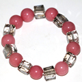 Free shipping pink rhodochrosite 12mm round beads strand bracelet 10mm crystal women high grade charms diy jewelry 7.5inch B2937
