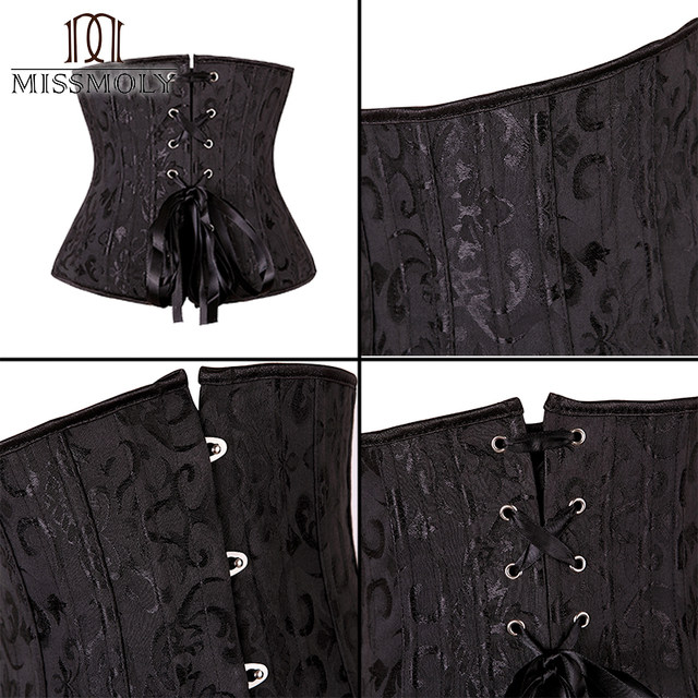 8892a15bd4 Steampunk Corset Women Plus Size 26 steel boned Sexy Gothic Bustier Waist  Cincher Belt Underbust Lace Top Tummy Slimming Sheath