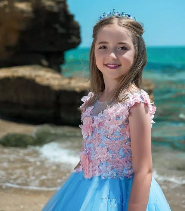 2019 New Blue   Flower     Girl     Dresses   For Weddings Jewel Cap Sleeves 3D Floral   Flower   Summer Beach   Girls   Pageant   Dress   Prom Kids Co