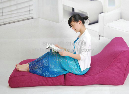 Pink folding bean bag chair, living room fold beanbag lounger sofa seat,outdoor and indo ...