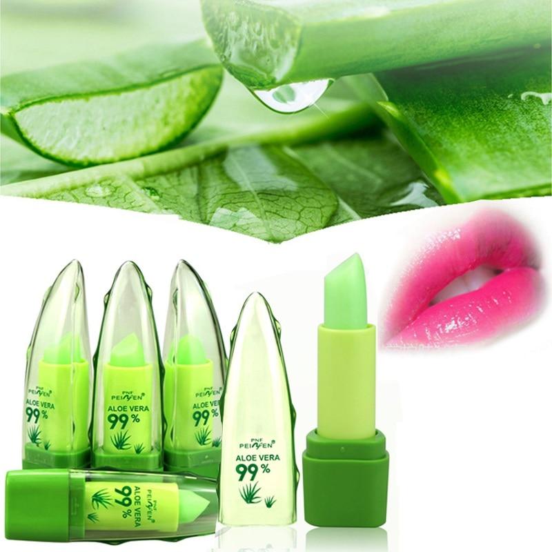 Pure Natural Aloe Vera Essence Lips Aloe Moisturizing Lip Balm Change Color Lipstick Long Lasting Beauty Lip Care