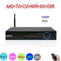 Синий Панель Hi3520D XMeye 4CH 1080 P Full HD видео Регистраторы 6 в 1 Гибридный Wi-Fi Onvif NVR TVI CVI AHD DVR Бесплатная доставка