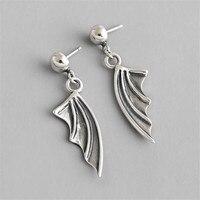 Original Antique Earrings S925 Sterling Silver Nail Ear Jewelry Vintage Dead Sleep Little Devil Wings Stud Earrings For Women