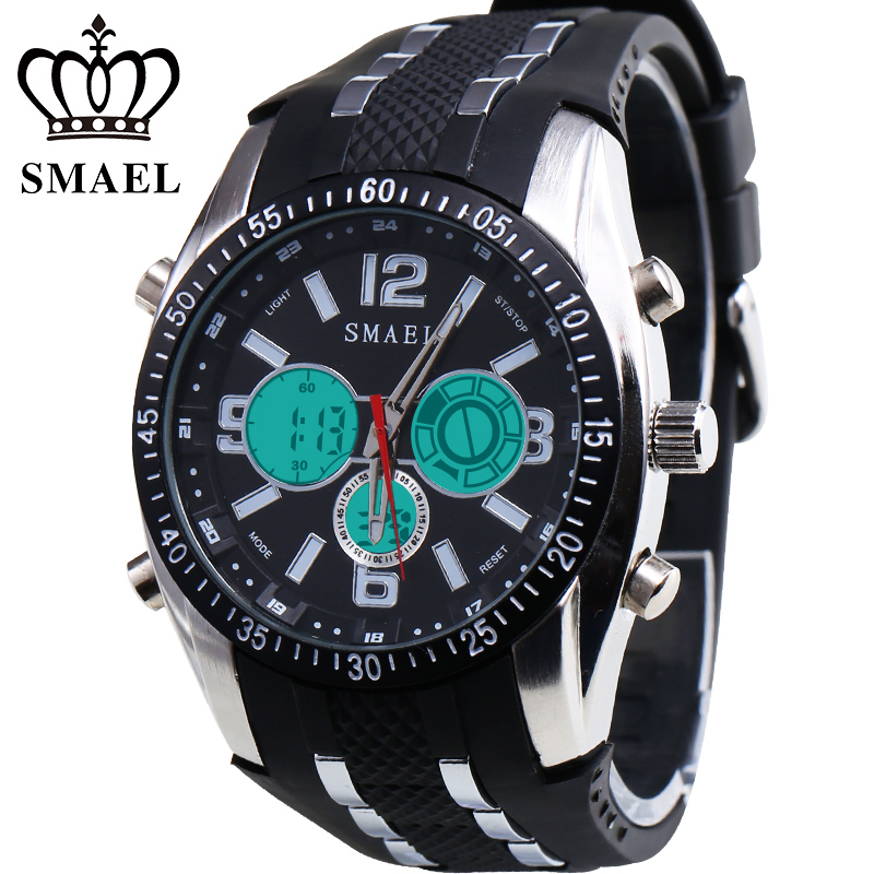SMAEL Men Military Sport Watch Reloj Mujer Waterproof LED Quartz Wristwatch Dual Display Digital Watches Men  montre homme