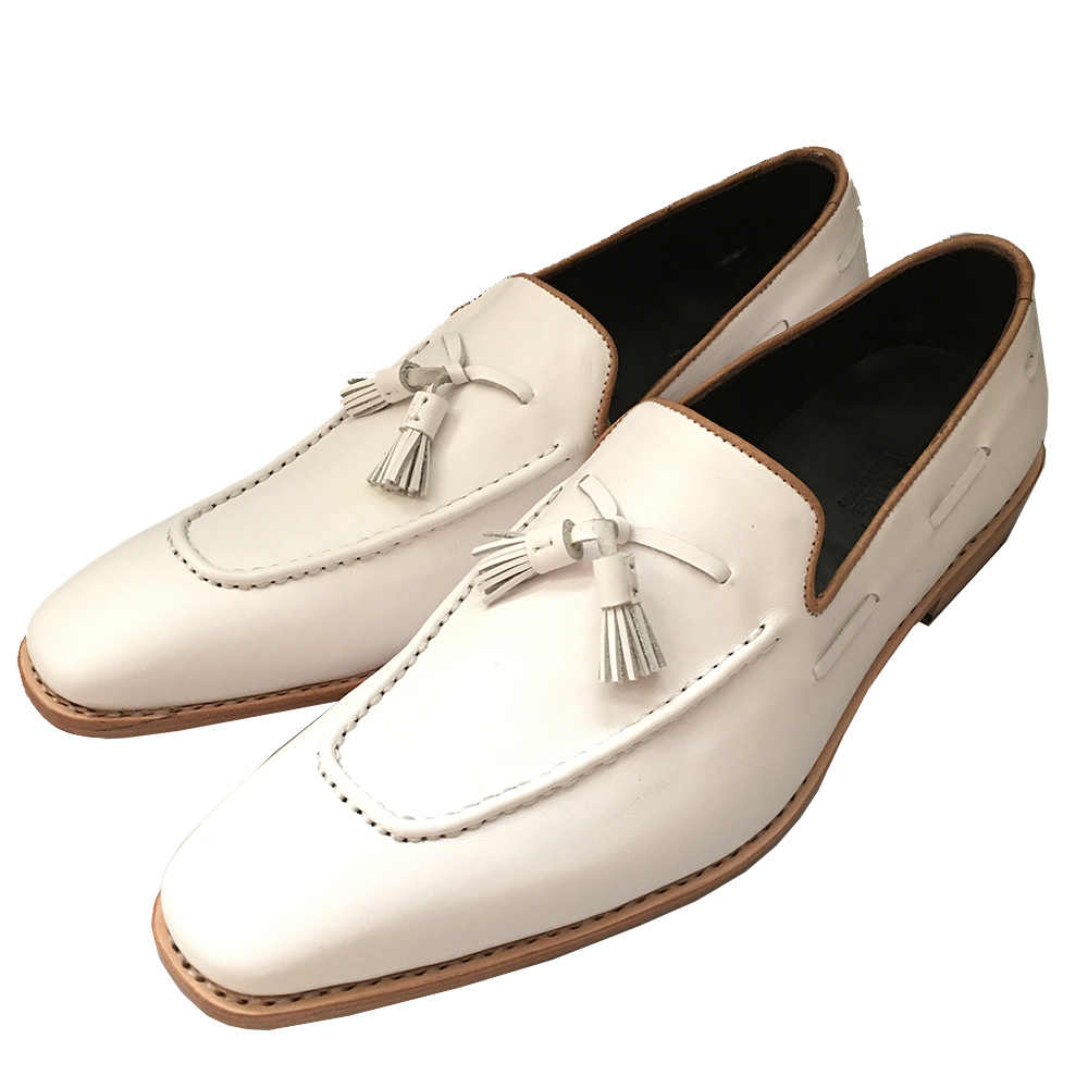 2453573bf2a58 ... Sipriks Luxury Mens Bespoke Goodyear Shoes Slipon Dress Shoes Italian  Male White With Tassel Loafers Shoes ...