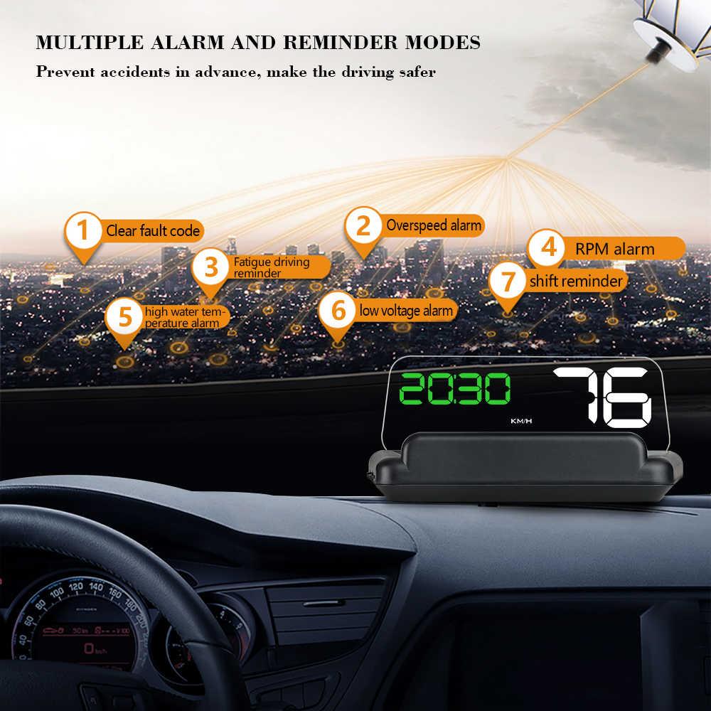 OBD HUD กระจก C500 รถ Head Up Display Speedometer Projector Security ALARM น้ำ TEMP RPM Overspeed โวลต์ PK GPS t900