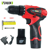 12V Electric Drill Cordless Screwdriver Screwdriver With 2 Lithium Battery Screwdriver Charged Drill Electric Screwdriver