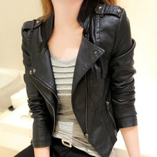 2019 Women Slim Fitness Leather Jacket Solid Color Black Wine Red Classical Female Leather Coat Outwear Autumn Jackets(China)