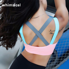 Whimsical Fitness Yoga Push Up Sports Bra for Womens Gym Running Padded Tank Top Athletic Vest Underwear Shockproof Strappy