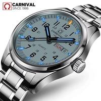 Carnival Fashion Men's Tritium Self Luminous Analog Quartz Watch Men Watch Week Calendar Sapphire Waterproof relogio masculino