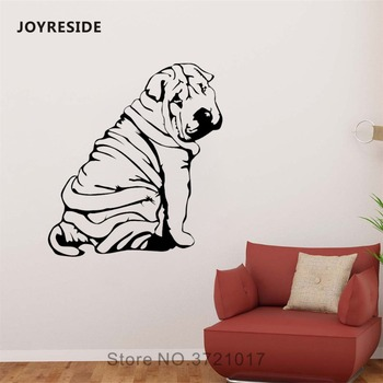 JOYRESIDE Sharpay Dog Sticker Animals Decals Vinyl Pets Puppy Wall Kids Boys Girls Bedroom Living room Home Design Mural A1383 image