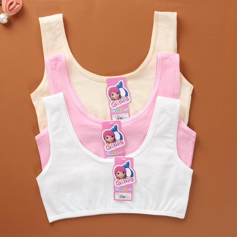 Bra Vest Lingerie Underwear Cotton/Spandex Solid Color Adolescente Puberty Summer 6-12Years Girls Cotton Spandex Sport 1pieces