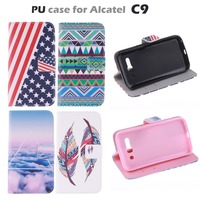 Carton pattern Flip PU Leather Case for Alcatel One Touch POP C9 Dual 7047 7047D With Card Slot & Stand Back Phone Case Cover
