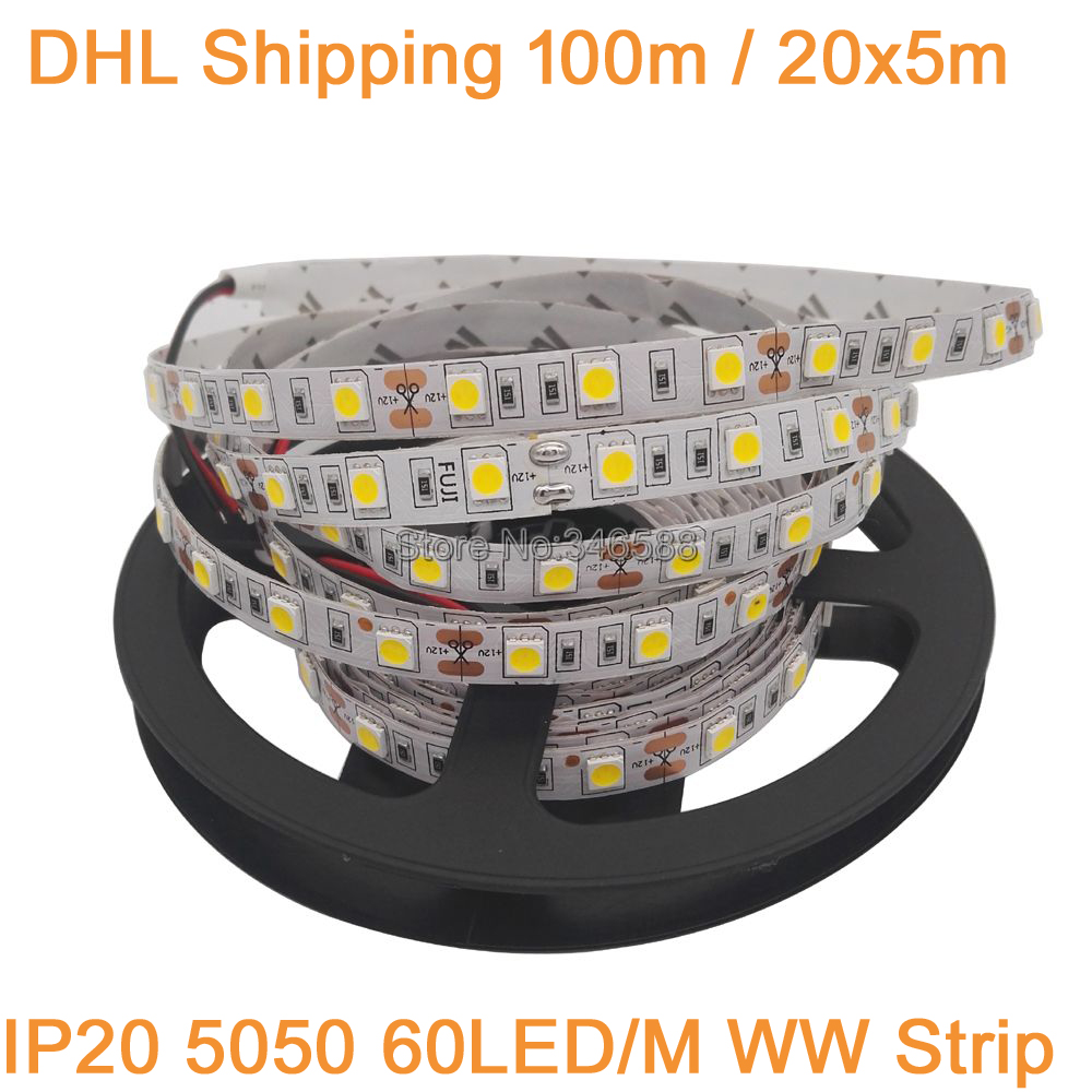 DHL Shipping 100M/lot 20x5M 5050 Flexible LED Strip DC12V LED Tape, 60LED/M IP20 Non-waterproof, 5050 SMD Warm White Strip Light