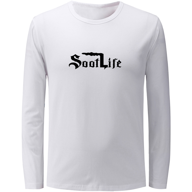 36d882a2c3d3 Old English Soot Life Patterned Design Mens Long Sleeve Solid Tshirt  Graphic Tee Print Only God Can Judge Me Cotton tshirts Tops