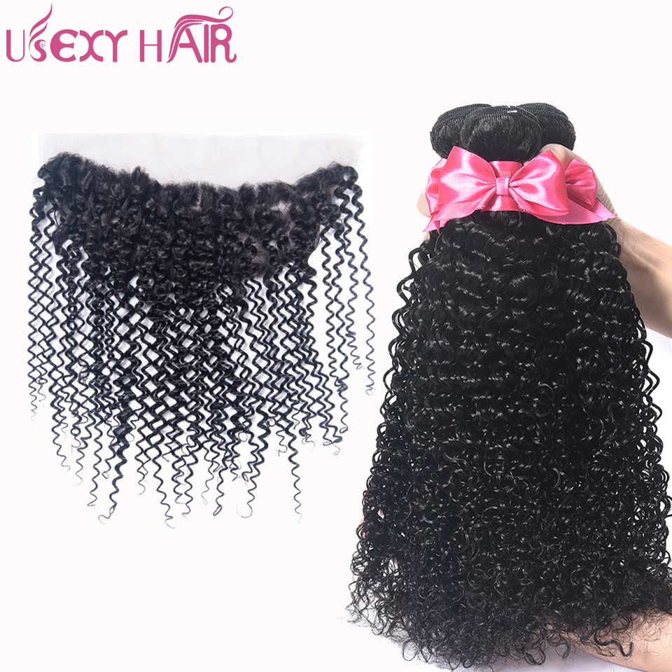 USEXY HAIR Brazilian Curly Wave Closure With Bundles 100% Human Hair 3 Bundles With 13*4 Lace Frontal Closure Non Remy Hair