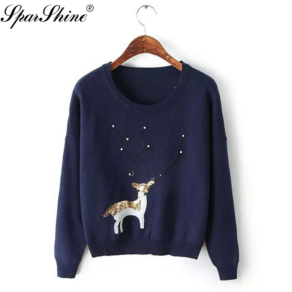 Deer Embroidery Christmas Sweater Women Pullover Casual Jumper Pull Femme Hiver O Neck Autumn Winter Clothes Women Sweater Tops