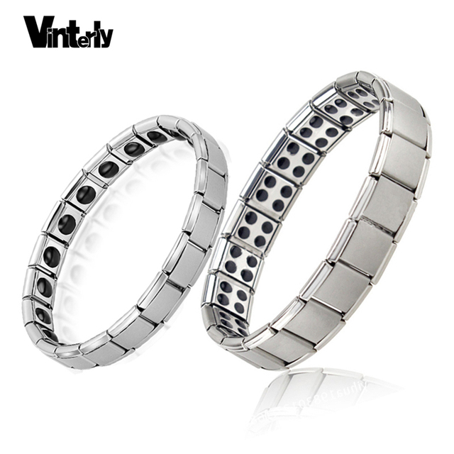 Vinterly Germanium Stainless Steel Elastic Stretch Bracelet Bangle For Men Women Health Energy Jewelry