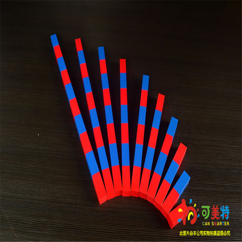 Montessori Materials Counting Sticks Calculating Blue and Red Profess Pack Beech Wood Math Tools  Early educational Can Smarter