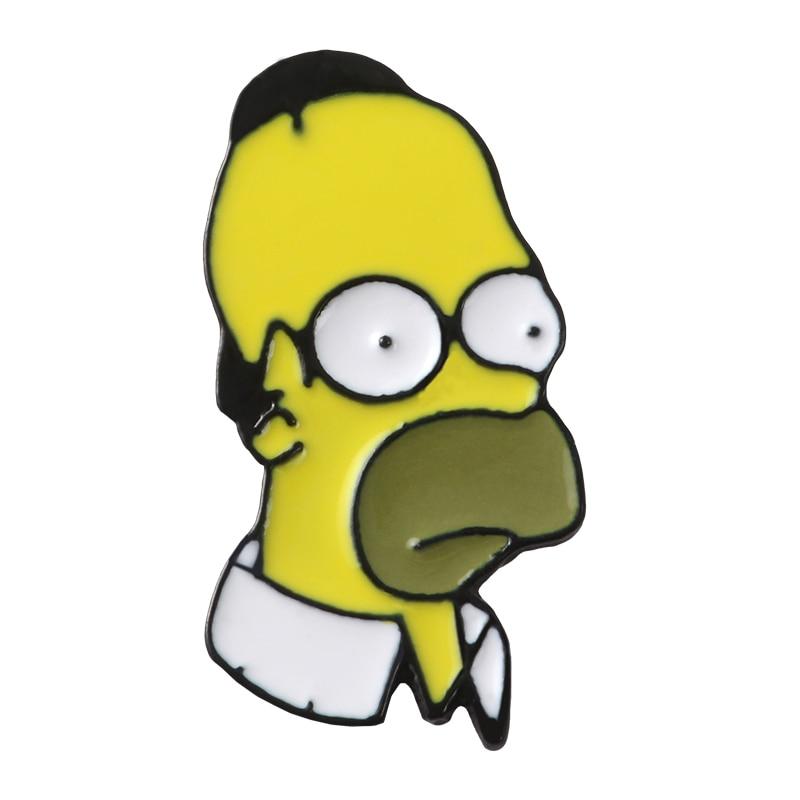 Булавки Симпсоны пончик забавные дизайнерские броши значки Юмор мультфильм рюкзак с эмалевыми вставками булавки для любителей аниме подарки ювелирные изделия оптом - Окраска металла: Style 18