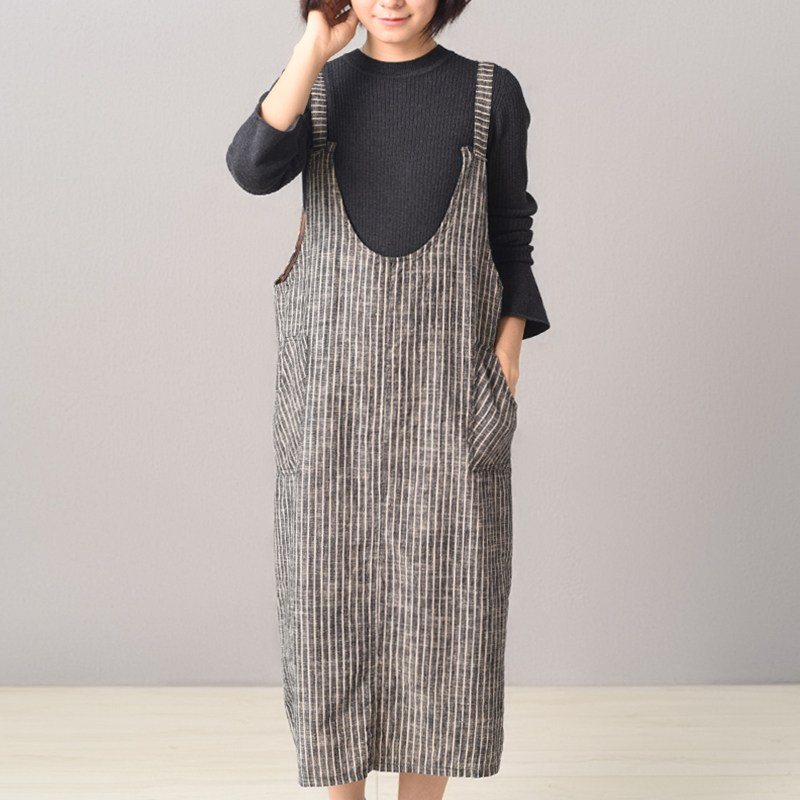 Zanzea Vintage Striped Women Strappy Sleeveless Loose Dungarees Casual Backless Suspense Dress Baggy Pockets Vestido Plus Size