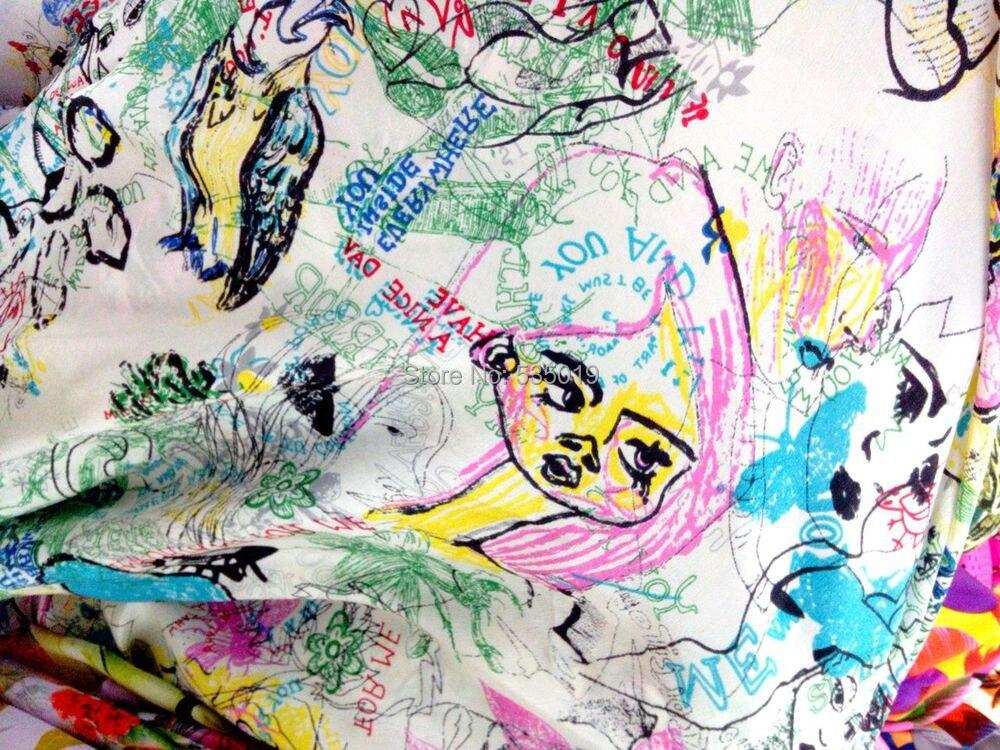 Nouveau 2018 vert Graffiti bricolage numérique peinture marque crêpe soie tissu africain tissu robe mûrier soie dédouanement vente en gros - 2