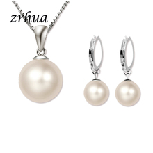 925-Sterling-Silver Necklace Jewelry-Sets Gift Pearl Women Classic Nice ZRHUA for Girls