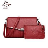 New 2 Pieces Set Composite Messenger Bags Women Crossbody Bag Ladies Shoulder Bag High Quality PU Leather Clutch Bolsas Feminin