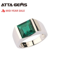 Emerald Sterling Silver Ring 925 Silver Jewelry 4.8 Carats in Square 10mm Created Emerald Green Color With Top Quality For Men