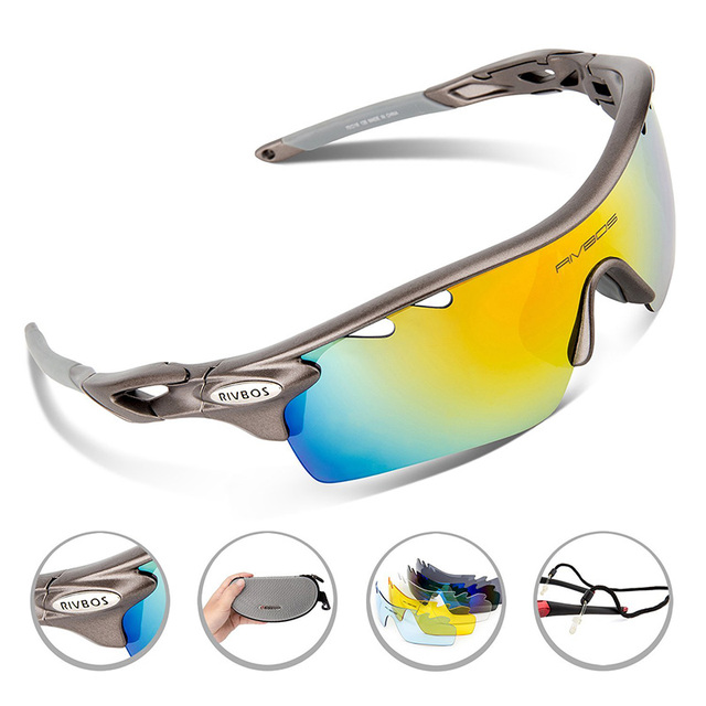 c3faf9340e 2017 Original RIVBOS Outdoors Sports Cycling Sunglasses 5 Interchangeable  Lenses Cycling Eyewear Glasses Polarized Free Shipping