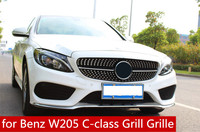 for Benz W205 C class C180 C200 C220 C260 C300 Grill Grille Mercedes W205 Diamond Style Front Racing Grill Grille 2014 2017