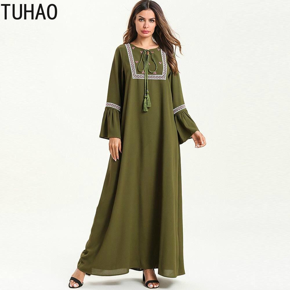 4XL grande taille femme vêtements Flare manches longues élégante musulmane Maxi robe printemps automne bohème longue robe femme T7553