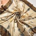 90 см * 90 см Леопарда ига площади шарф bufandas mujer 2017 горячие моды ислам шелковые платки и шарфы женщины весна Бандана A316
