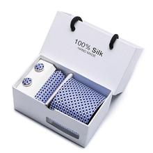 Joy Alice Mens Formal Necktie Sets Cufflink Hankerchief Checks Corbatas Gravata Jacquard Woven for Business Wedding Black Blue
