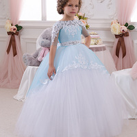Diamante Flower Girl Dresses With Butterfly Short Sleeves Ball Gown O Neck First Girls Communion Gown